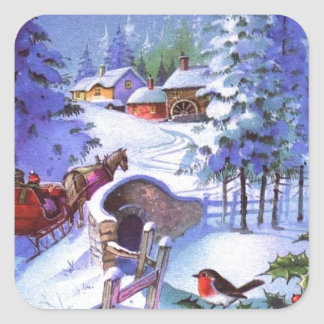 Vintage Winter Christmas Scene Square Sticker