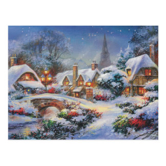 Vintage Winter Christmas Village Postcard
