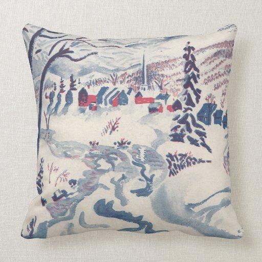 Винтаж Зима Рождественская деревня с деревьями, снег Подушки
