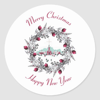 Vintage Winter Church Scene with Christmas Wreath Classic Round Sticker