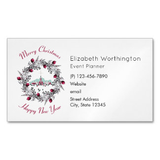 Vintage Winter Church Scene with Christmas Wreath Magnetic Business Card