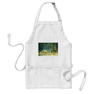 Vintage Winter Country Barn Adult Apron