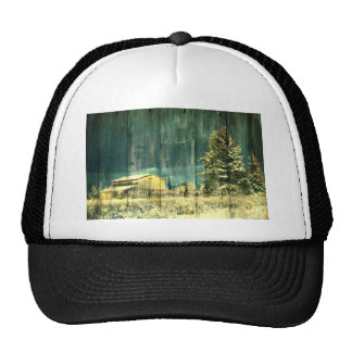 Vintage Winter Country Barn Trucker Hat