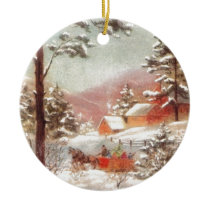 Vintage Winter Country Scene Ceramic Ornament