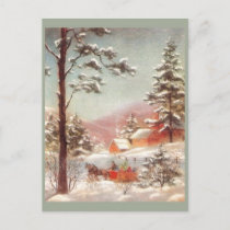 Vintage Winter Country Scene Postcard