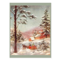 Vintage Winter Country Scene Postcard