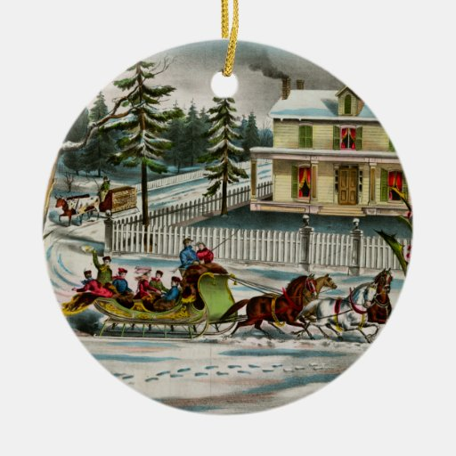 Vintage Winter Days Horse and sleigh Christmas Tree Ornaments