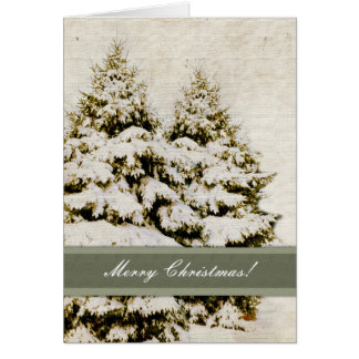 Vintage Winter Evergreens Christmas Card