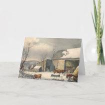 Vintage Winter Farm Holiday Christmas Cards