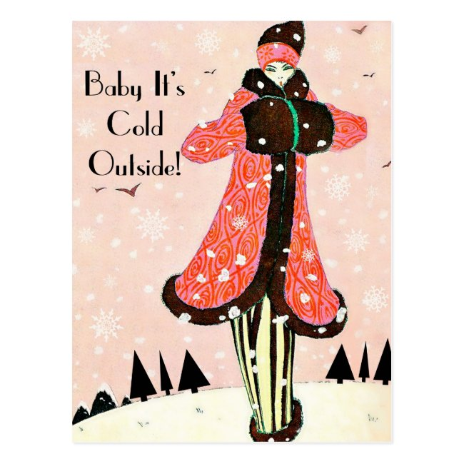 Vintage Winter Fashion Postcard