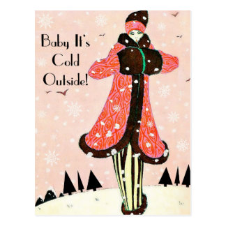 Vintage Winter Fashion Postcard