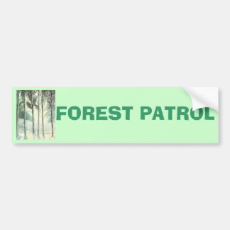 Vintage winter, frosted forest car bumper sticker