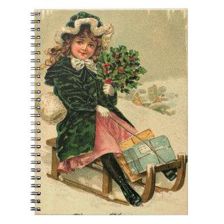 Vintage Winter Fun Spiral Note Book
