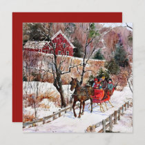 Vintage Winter Horse and Sleigh In Snow Card