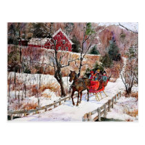 Vintage Winter Horse and Sleigh Postcard