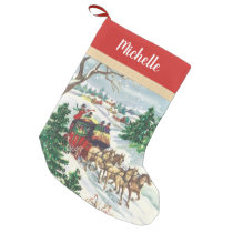 Vintage Winter Horse Drawn Carriage with Name Small Christmas Stocking