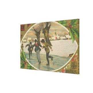 Vintage Winter Ice Skating Gallery Wrap Canvas