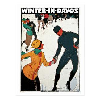 Vintage Winter in Davos travel ad Postcard