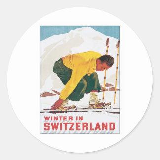 Vintage Winter In Switzerland Round Stickers