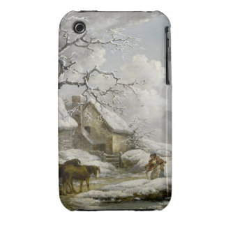 Vintage winter Landscape Christmas print Case-Mate iPhone 3 Cases