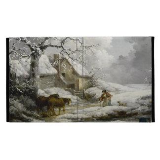 Vintage winter Landscape Christmas print iPad Folio Cover