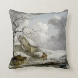 Vintage winter Landscape Christmas print Pillows