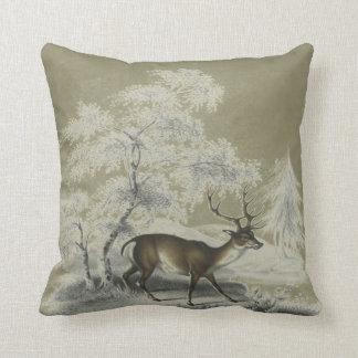 Vintage Winter Landscape Scene with Deer Throw Pillow