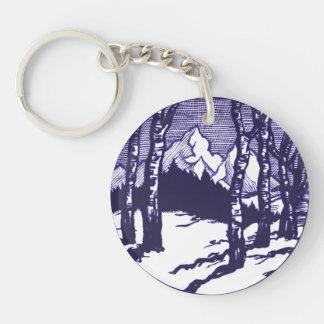 Vintage Winter Mountain Scene Etching Single-Sided Round Acrylic Keychain