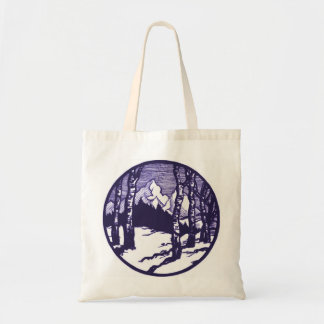 Vintage Winter Mountain Scene Etching Tote Bag