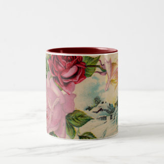 Vintage Winter Roses Coffee Mug