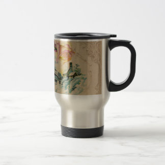 Vintage Winter Roses Travel Mug