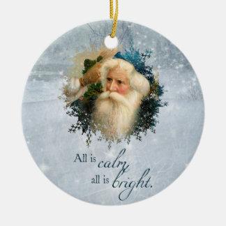 Vintage Winter Santa Christmas Ornament