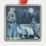 Vintage Winter Santa With Polar Bears Metal Ornament