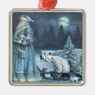 Vintage Winter Santa With Polar Bears Metal Ornament