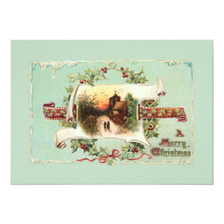 Vintage Winter Scene and Christmas Greeting Card