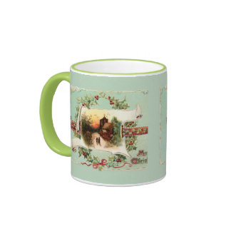 Vintage Winter Scene and Christmas Greeting Ringer Mug