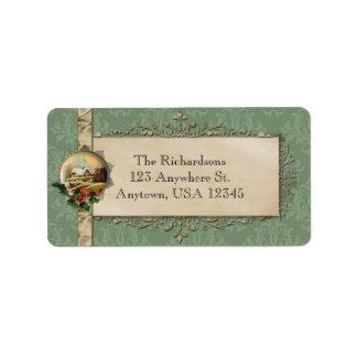 Vintage Winter Scene and Damask Custom Address Label