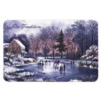 Vintage Winter Scene. Christmas Gift  Magnet