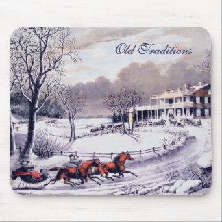 Vintage Winter Scene. Christmas Gift  Mousepad