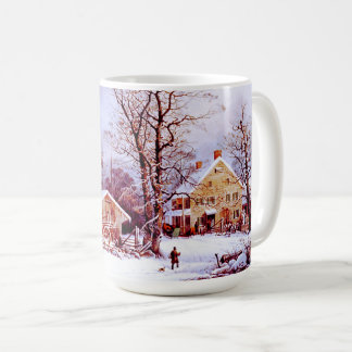 Vintage Winter Scene. Christmas Gift Mugs