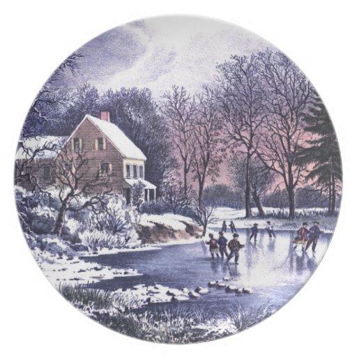 Vintage Winter Scene. Christmas Gift Plate