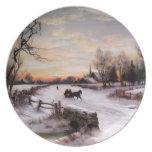 Vintage Winter Scene. Christmas Gift Plates