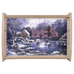 Vintage Winter Scene. Christmas Gift Serving Tray
