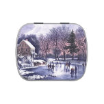 Vintage Winter Scene Christmas Gift Snip Snap Tins Jelly Belly Tins