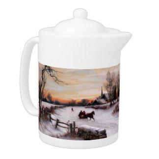 Vintage Winter Scene. Christmas Gift Teapots