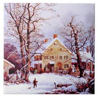 Vintage Winter Scene. Christmas Gift Tiles