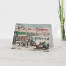 Vintage Winter Scene Christmas Greeting Card