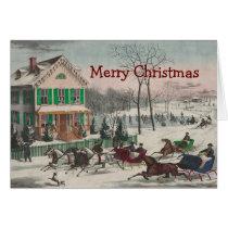 Vintage Winter Scene Christmas Greeting Card