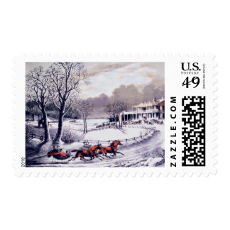 Vintage Winter Scene. Christmas Postage Stamps