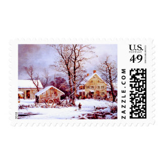 Vintage Winter Scene Christmas Postage Stamps